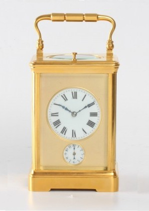 A French Gilt Brass Quarter Striking Alarm Carriage Clock, Circa 1890