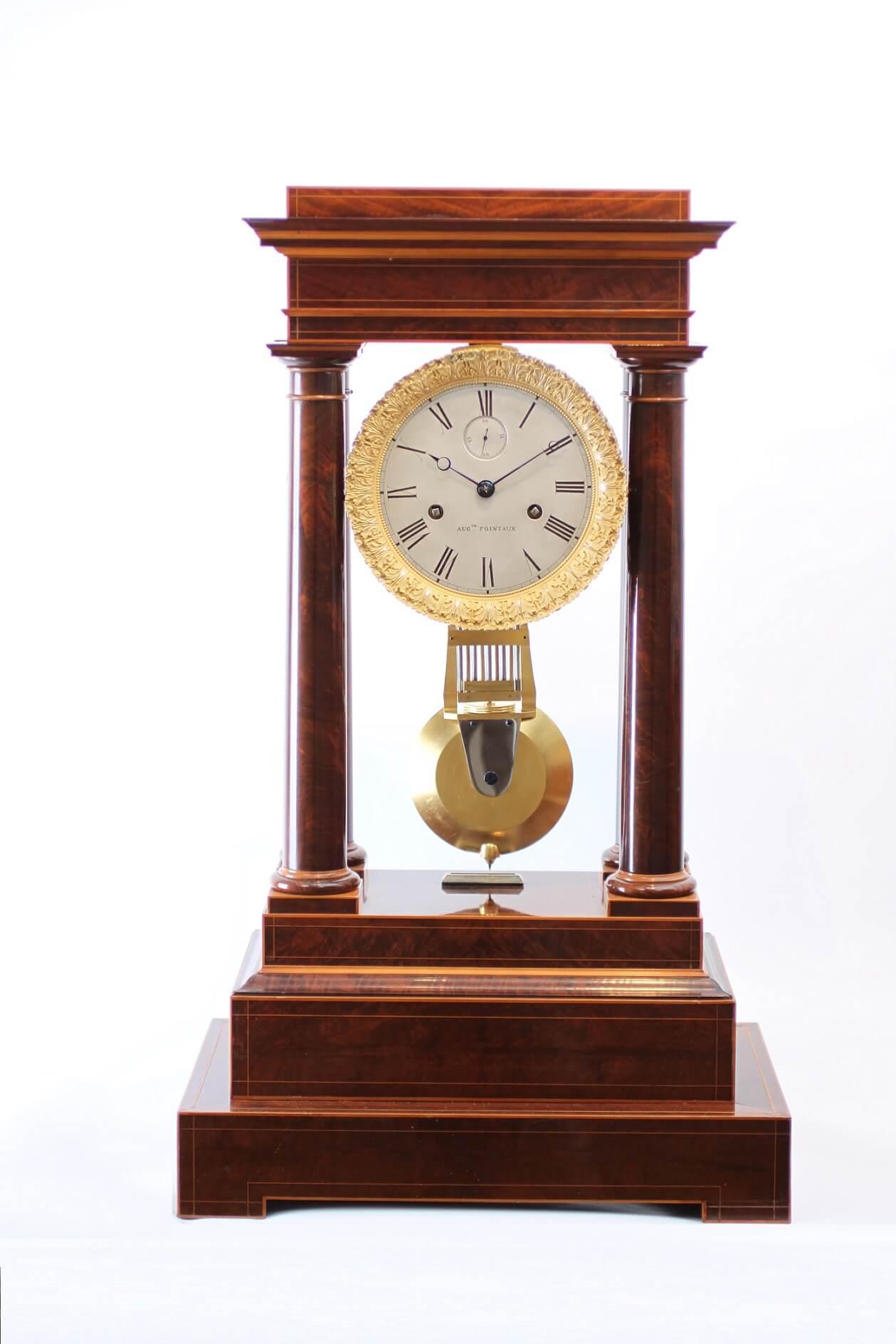 French Charles X mahogany regulator portico clock 1829
