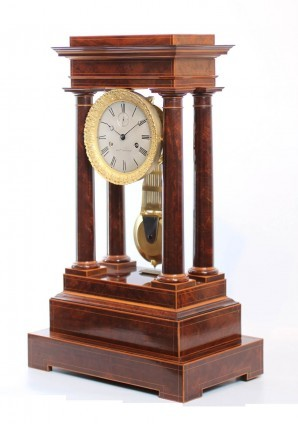 French Charles X Mahogany Regulator Portico Clock 1829