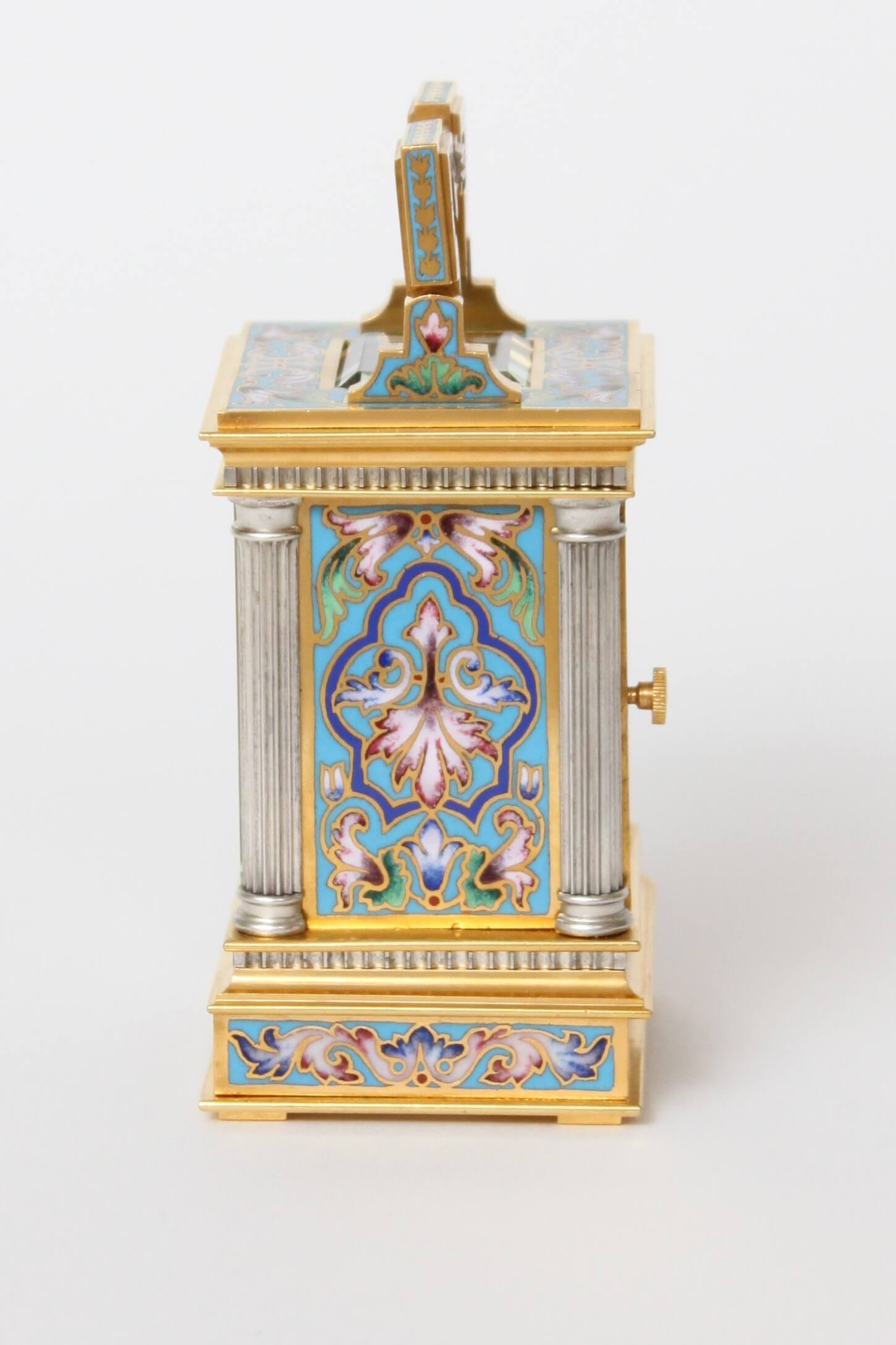 French-cloisonné-anglaise-carriage Clock-travel Clock-antique Clock-timepiece-gilt Brass-