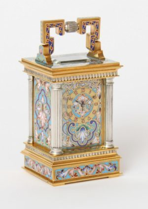 A Miniature French Cloisonné Carriage Timepiece, Circa 1870