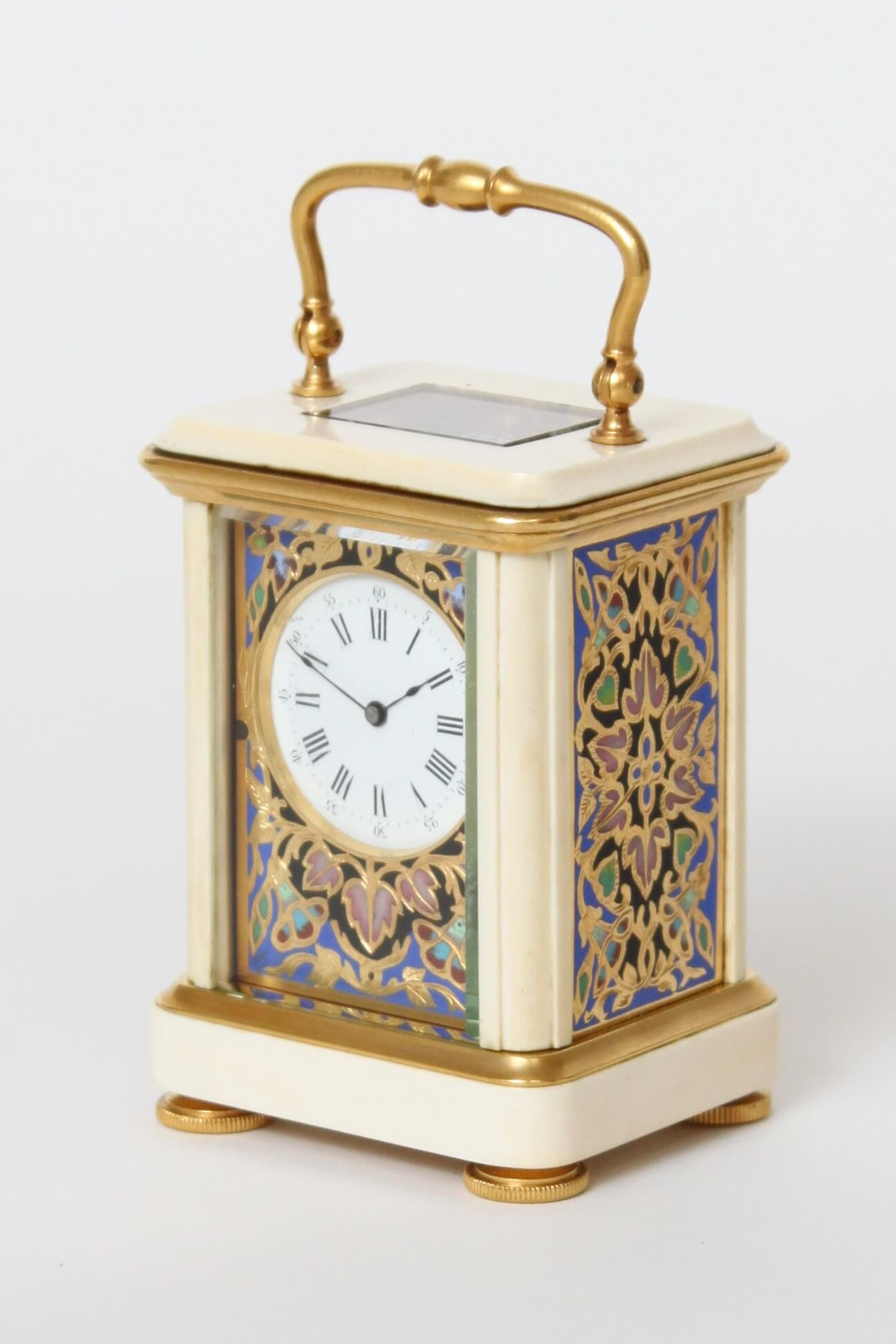 French-miniature-ivory-cloisonné-travel Clock-antique Clock-carriage Clock