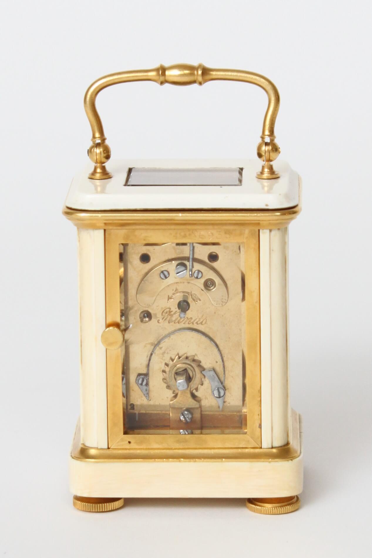 Een Miniatuur Frans Cloisonné En Ivoren Reisklokje, Circa 1880