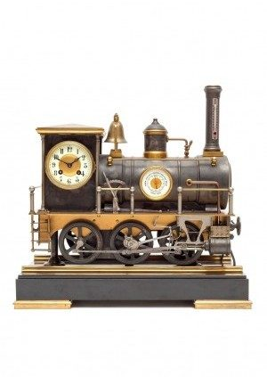 A Rare French Industrial Locomotive Automaton Clock By Guilmet, Circa 1890