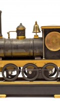 French Automaton Industrial Locomotive Clock Guilmet