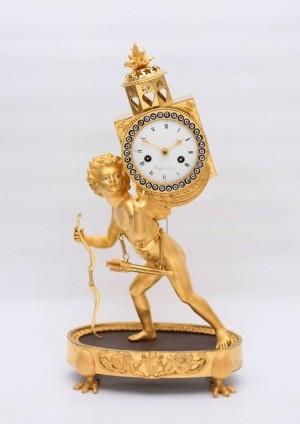 French ormolu Empire mantel clock laterna magica 1800
