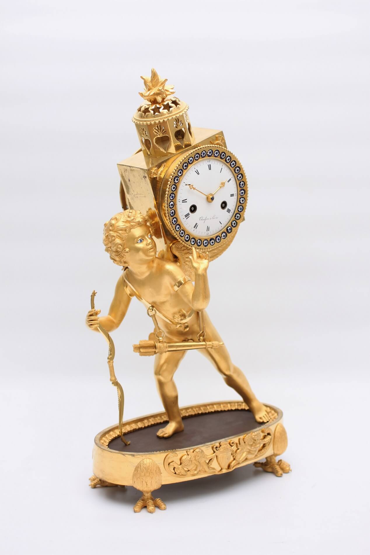 French Ormolu Empire Mantel Clock Laterna Magica 1800