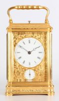 French Gorge Engraved Carriage Clock Repeater Drocourt 1880