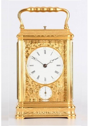 A French Engraved Gilt Carriage Clock, By Drocourt, Circa 1880.