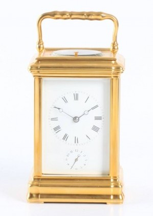 A French Gilt Gorge Case Carriage Clock With Alarm, Circa 1860