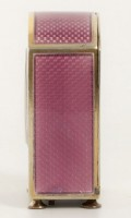 Swiss Miniature Silver Guilloche Enamel Purple 1900