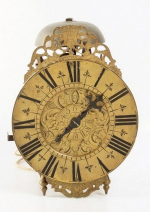 French Brass Lantern Alarm Wall Clock 1720