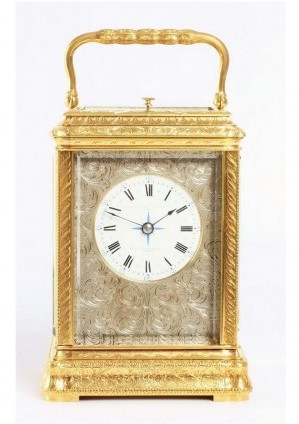 French Gilt Engraved Carriage Clock Repeater Renaissance 1880