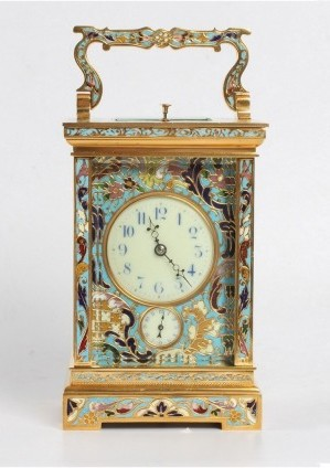 A Fine French Gilt Cloisonné Enamel Carriage Clock, Circa 1890