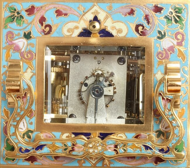 French Gilt Cloisonné Anglaise Carriage Clock Repeater 1890