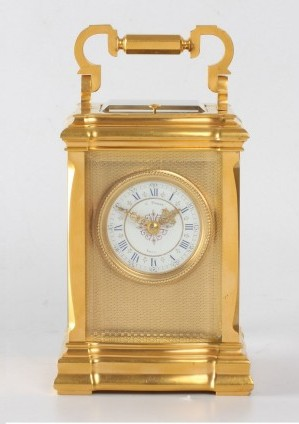 A French Gilt Carriage Clock In Unusual Case, C. Prost, Circa 1890.