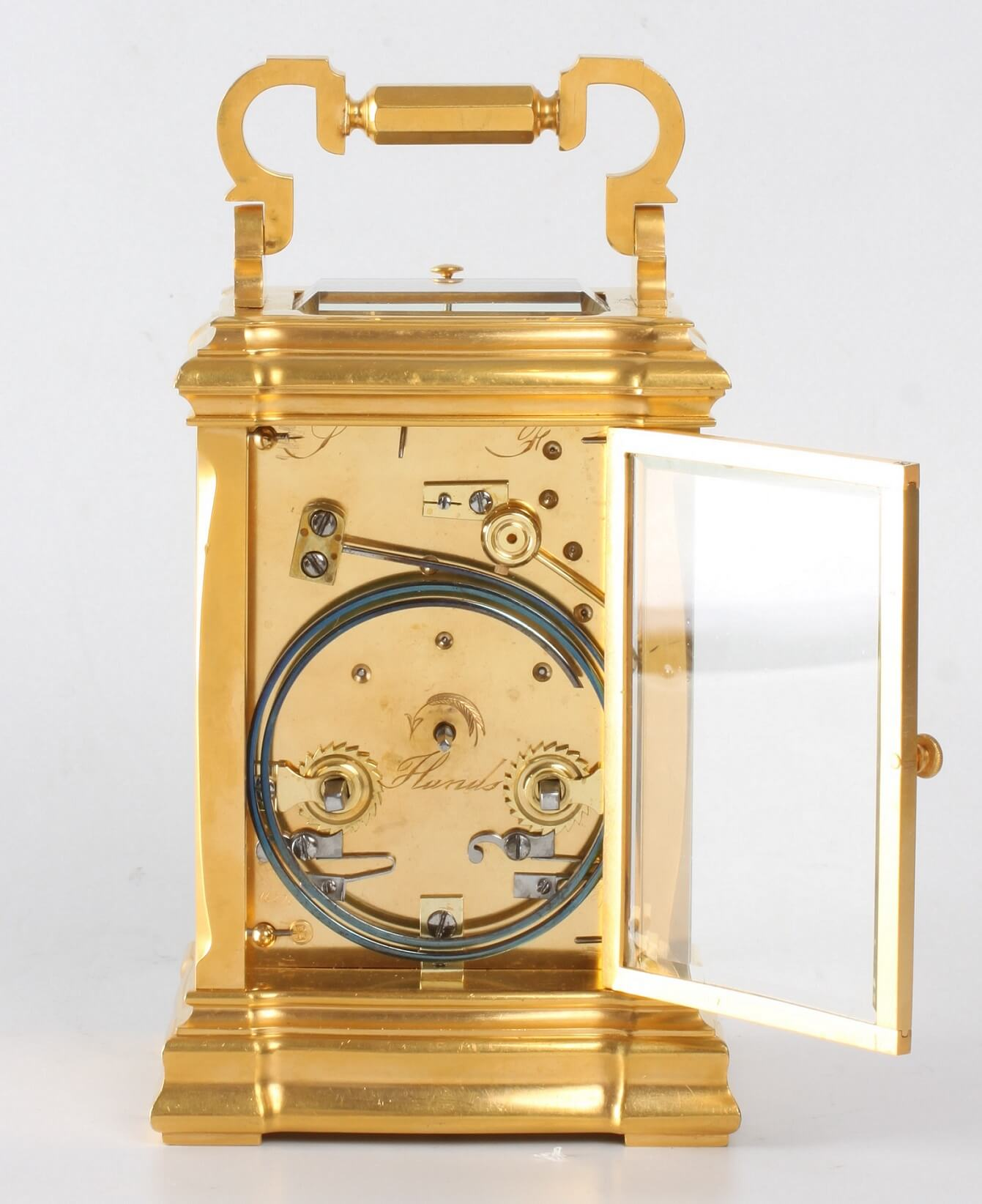 French Gilt Carriage Clock Jugendstil Repeater Frost 1890