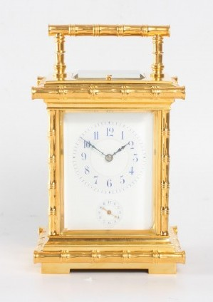 A French Gilt 'Bamboo Case' Carriage Clock, Circa 1890