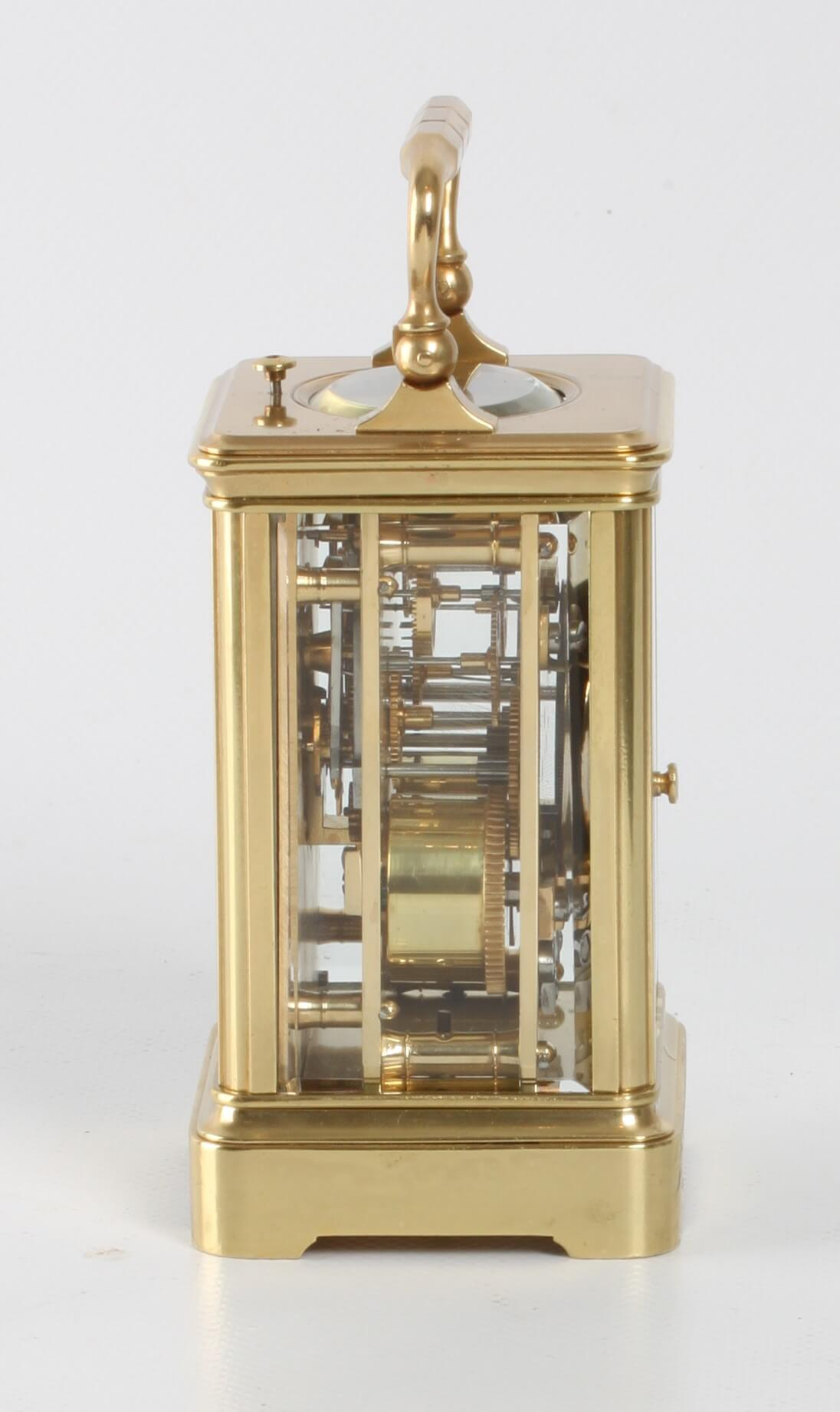 French brass corniche carriage clock repeater 1860