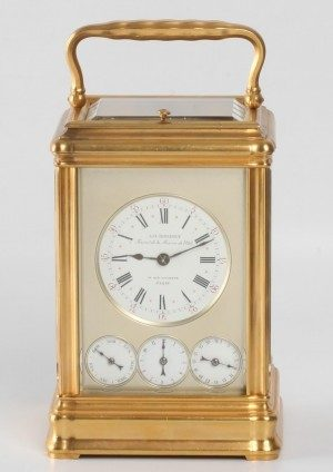 A French Gilt Travel Clock With Calendar, Rodanet, Circa 1880