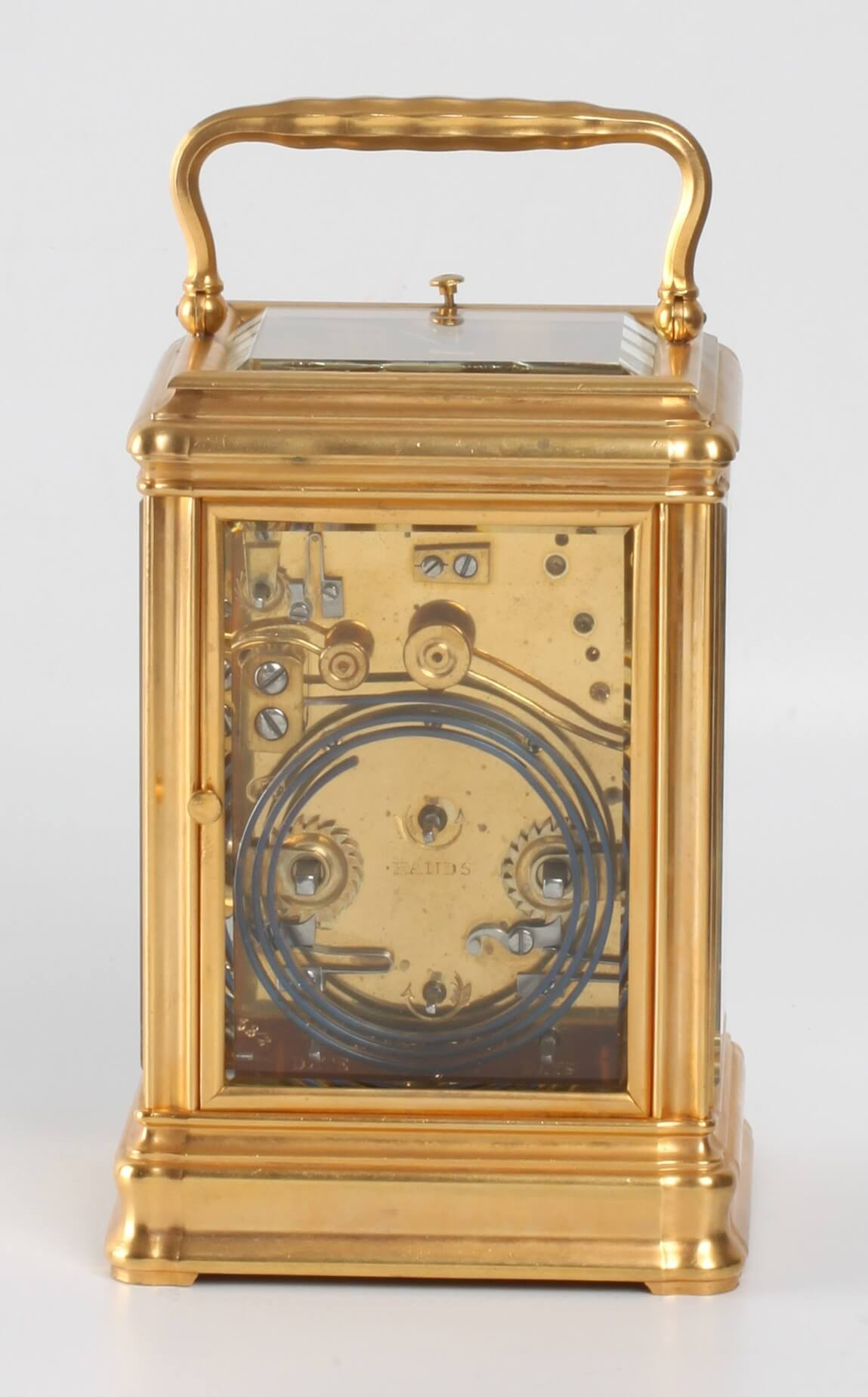 French gilt gorge carriage clock calendar Rodanet 1890