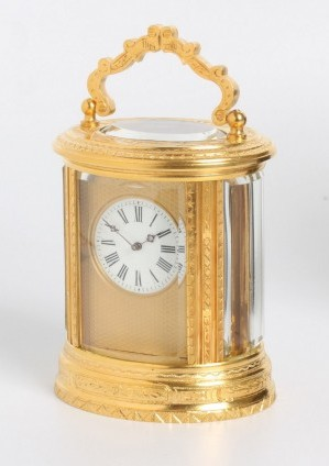 French Gilt Oval Carriage Clock Engraved 1870