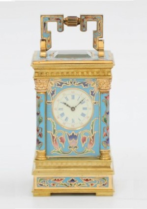 French Miniature Gilt Cloisonné Anglaise Carriage Clock 1870
