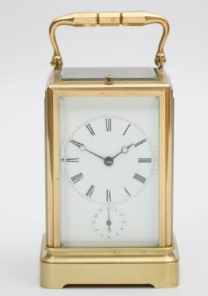 French One Piece Brass Drocourt Carriage Clock 1850