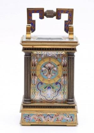 Een Miniatuur Frans Verguld Cloisonné Reisklokje, Circa 1870