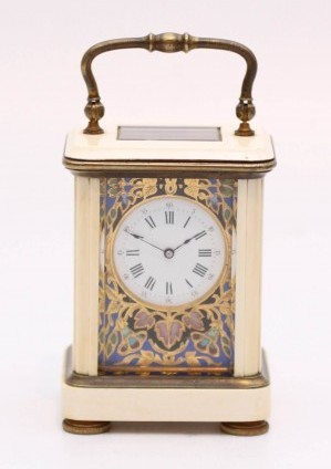 A Miniature French Cloisonne And Ivory Carriage Timepiece, Circa 1880