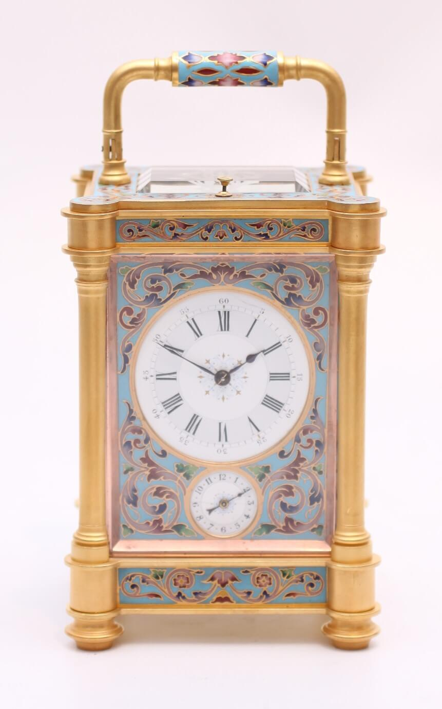 French Gilt Cloisonné Enamel Repeater Carriage Clock 1870