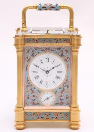 A French Gilt Cloisonné Enamel Carriage Clock, Circa 1870