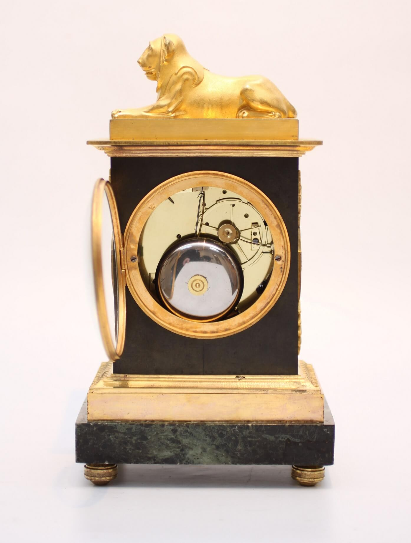 French Ormolu Bronze Marble Mantel Clock Lion 1800