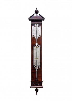 Een Hollandse Mahonie Bakbarometer P. Wast, Circa 1780