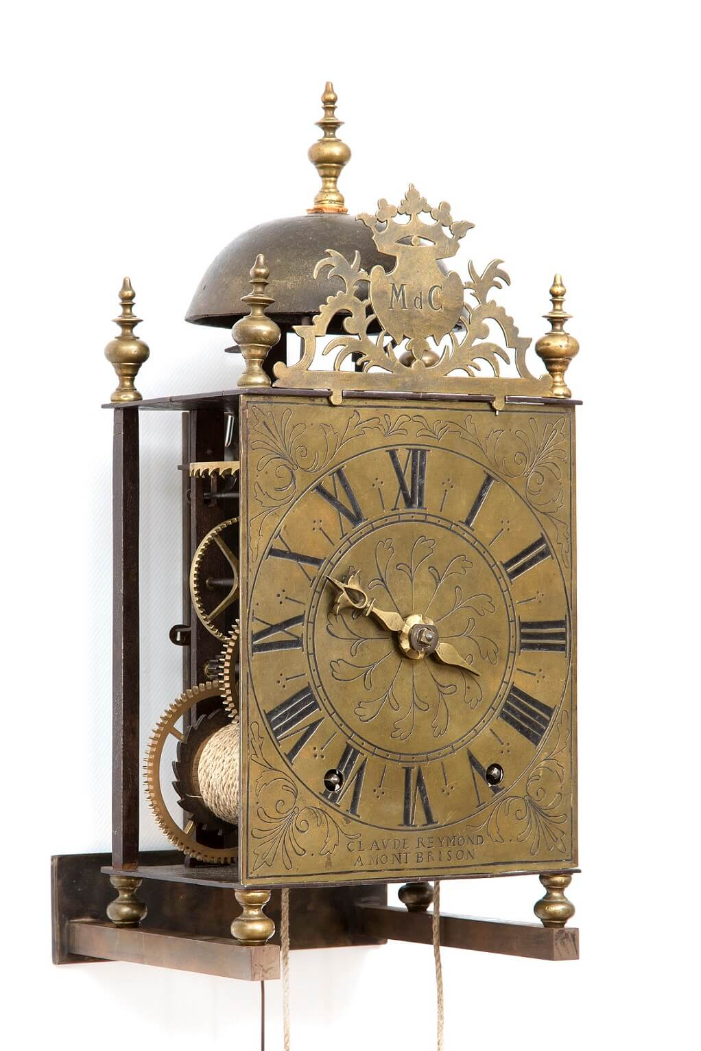 French Morbier Lantern Brass Wall Clock Reymond 1740