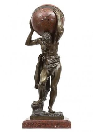 Een Grote Franse Sculpturale Pendule 'Hercules', Circa 1860