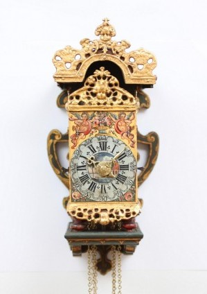 Dutch Frisian Wall Clock Miniature Stoelschippertje Striking Alarm 1760