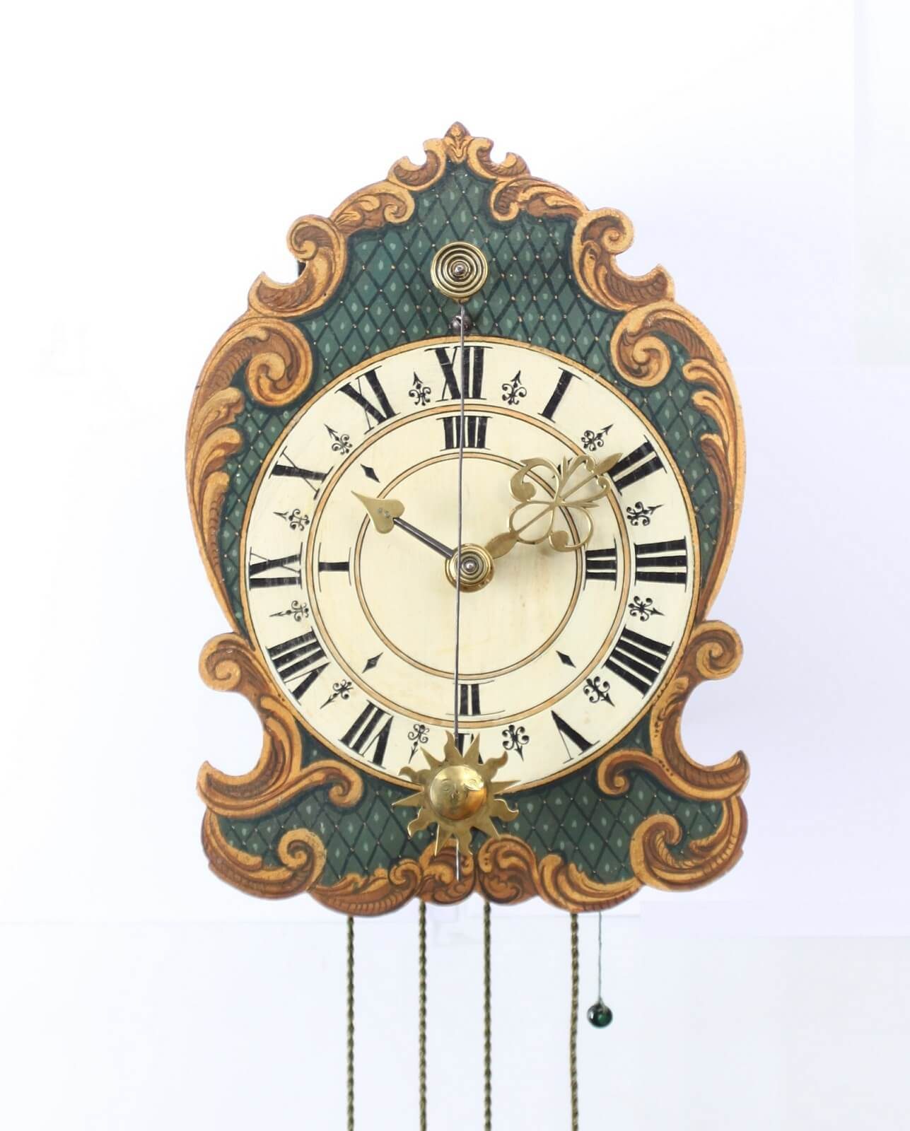 Swiss Polychrome Iron Wall Clock Zappler 1760