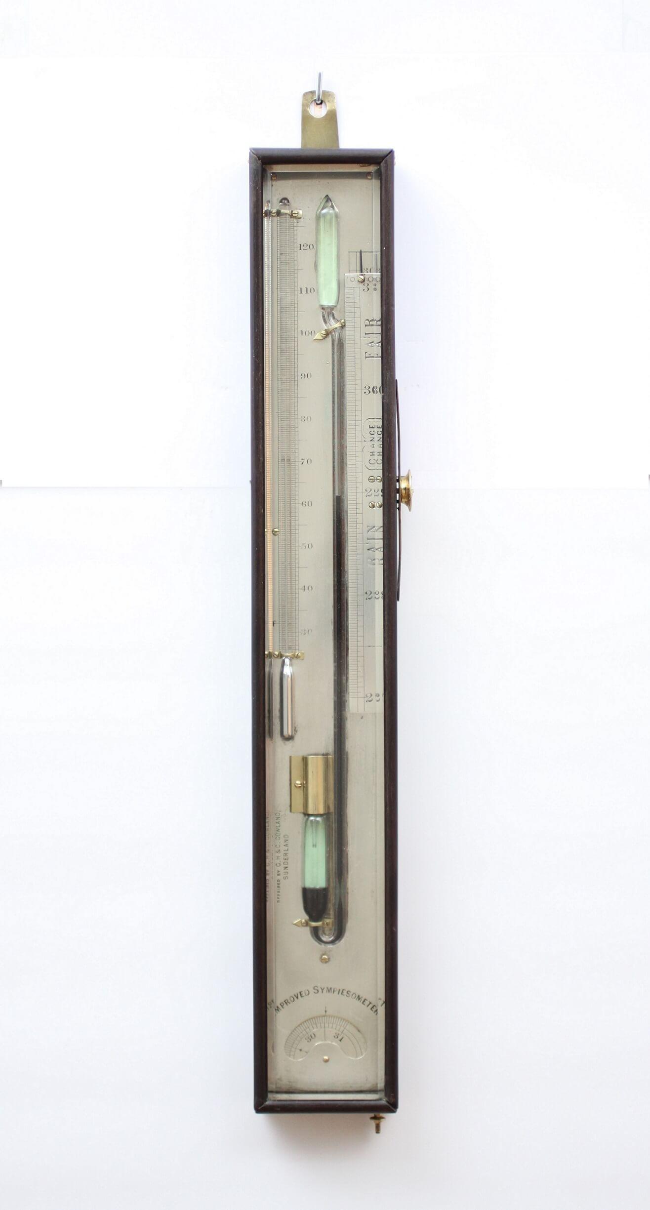 English Mahogany Sympiesometer Barometer Ship Cowland 1825