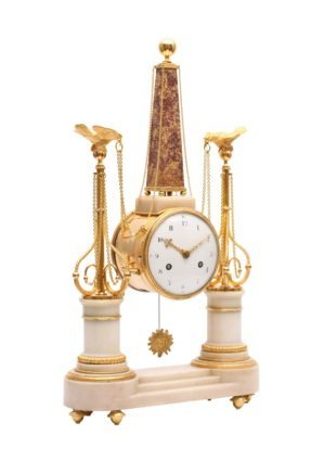 A French Louis XVI Portico Mantel Clock With Obelisk, Circa 1780