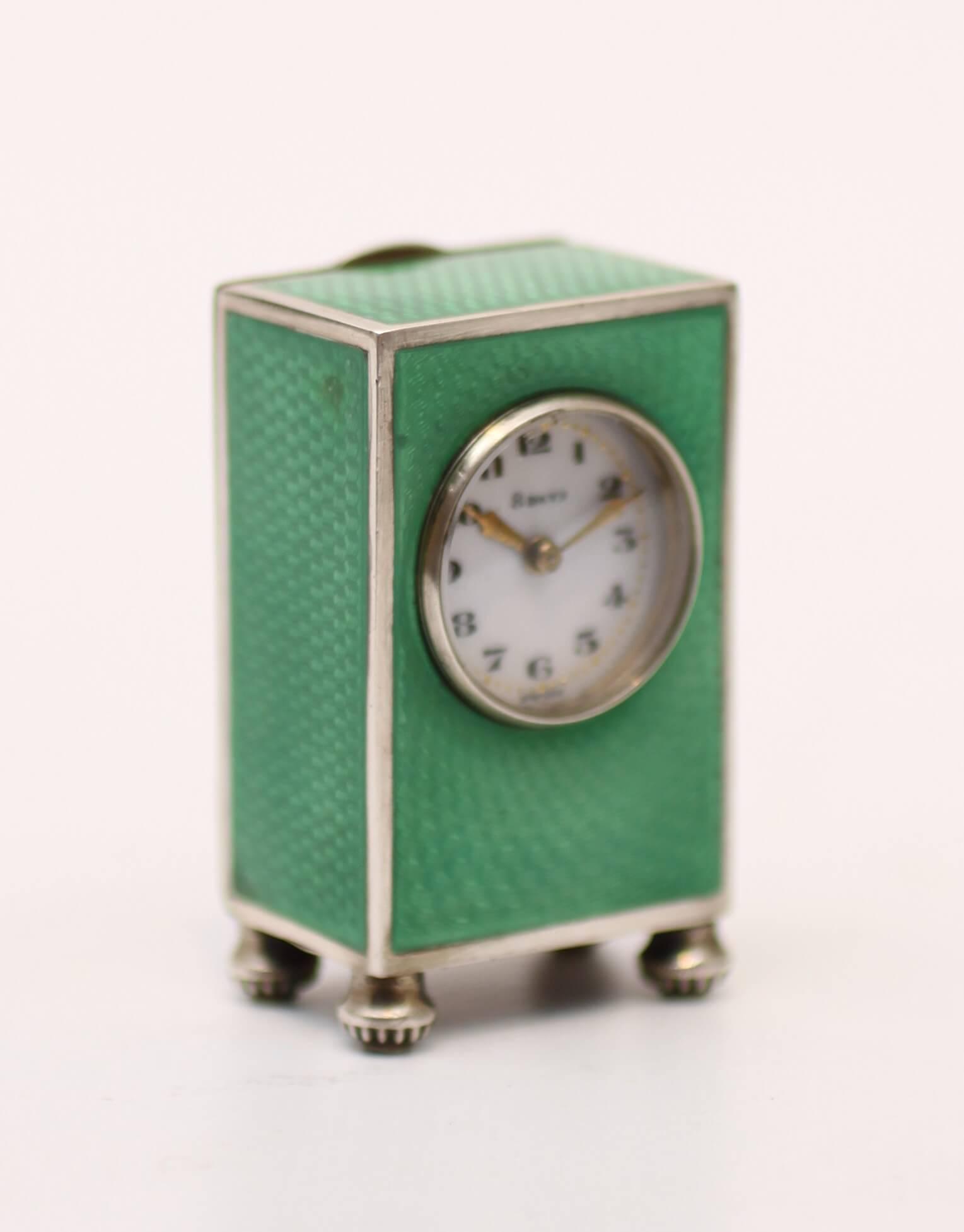Swiss Miniature Guilloche Enamel Silver Boudoir Clock 1920