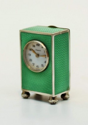 A Swiss Miniature Guilloche Enamel Travel Timepiece, Circa 1920