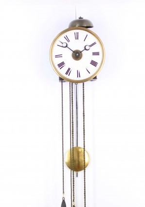 An East French Iron And Brass Wall Alarm Timepiece, Circa 1830
