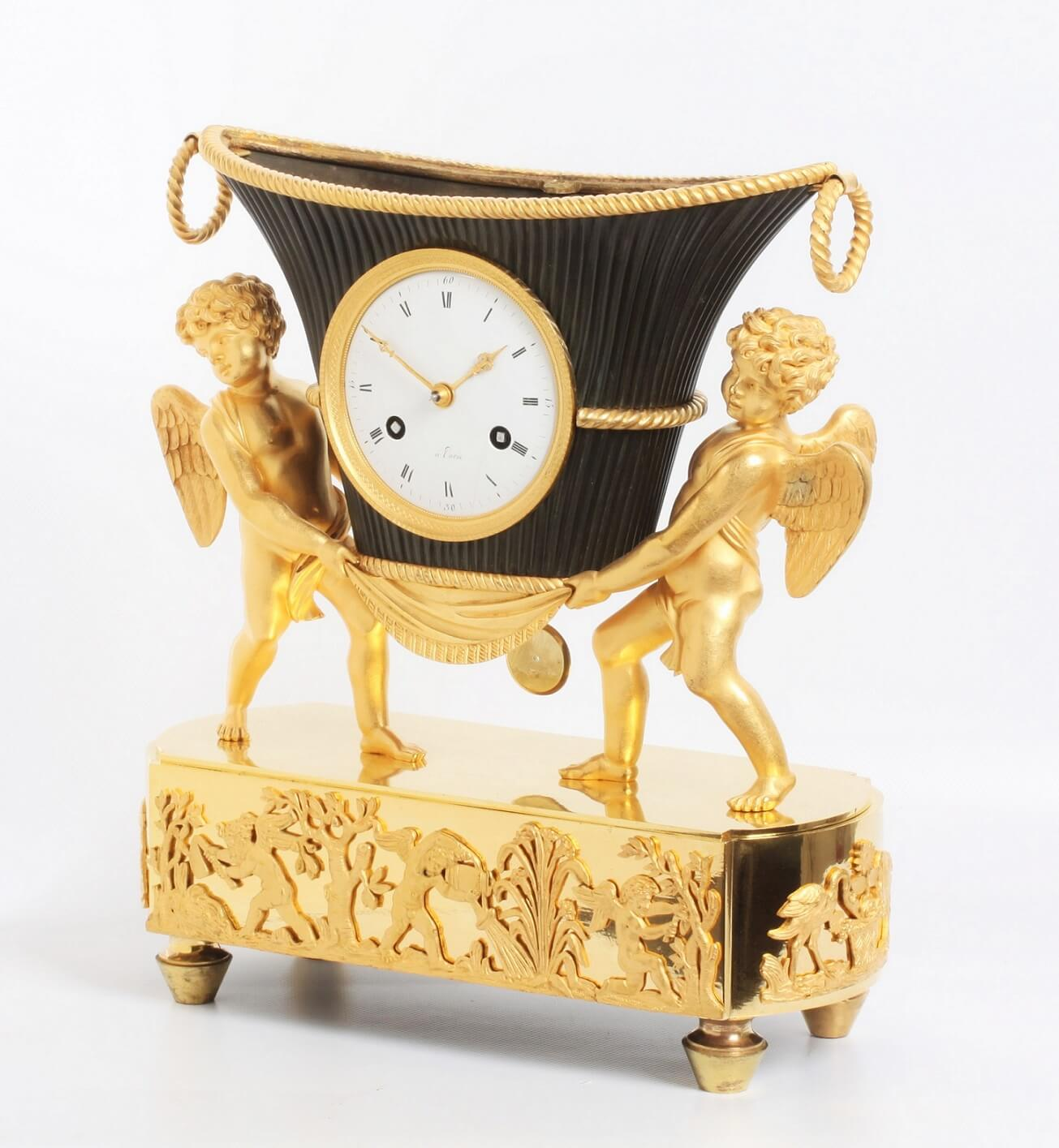 French Empire Ormolu Bronze Urn Putti Clock 1800