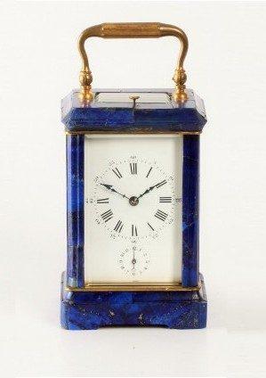 Een Franse Lapis Lazuli Reisklok, Circa 1880.