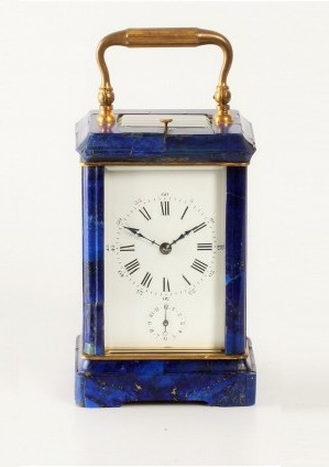 French Corniche Lapis Lazuli Carriage Clock Repeater 1880