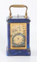 French Corniche Lapis Lazuli Carriage Clock Repeater 1880