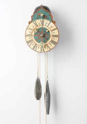 A South German Polychrome Wall Clock, Circa 1710