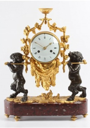 French Louis XVI Ormolu Marble Mantel Clock Bacchante 1790