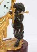 French Louis XVI Ormolu Marble Mantel Clock Bacchante 1790